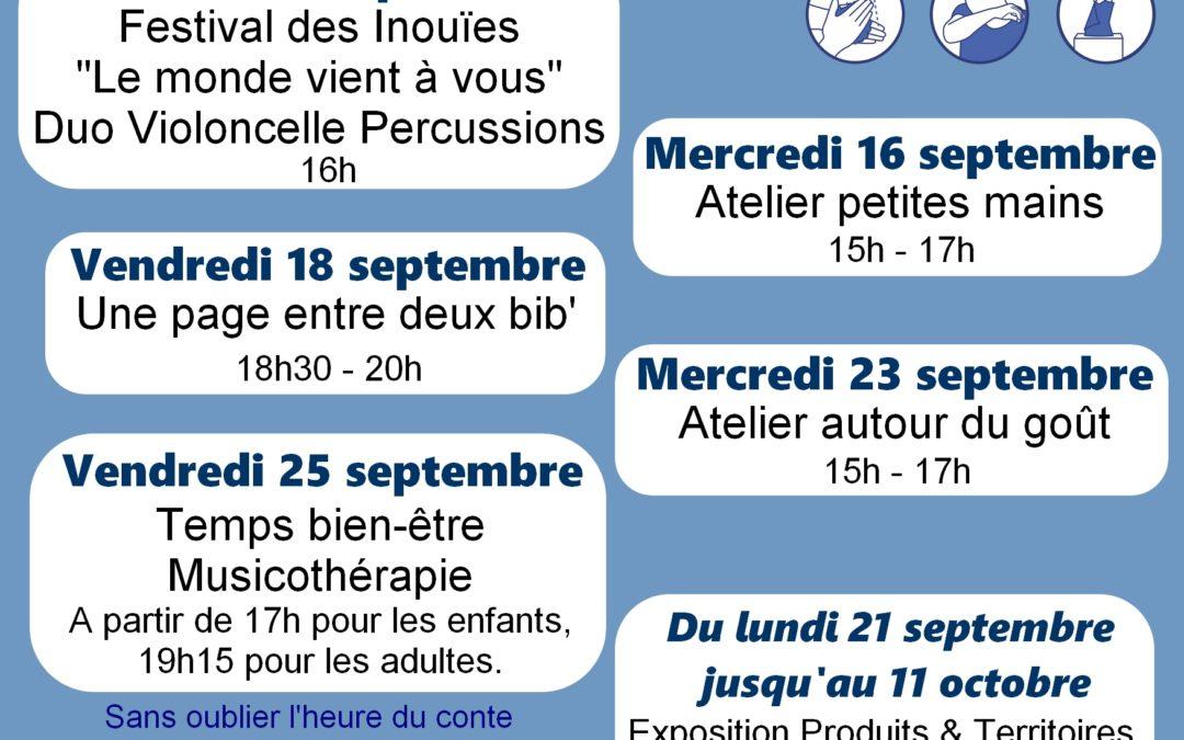 Agenda de Septembre à la Médiathèque